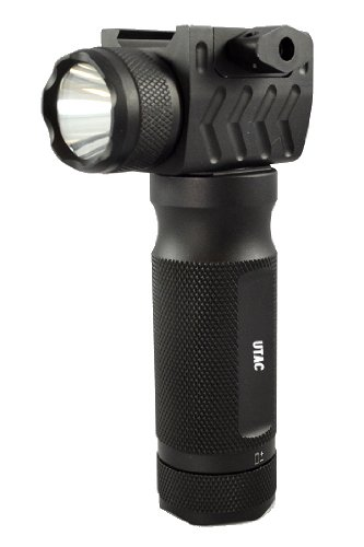UTAC® FG20S All-Aluminum Rail Mounted High Output 200 Lumen Strobe LED Flashlight with Tactical Grip (batteries installed)