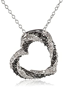 Sterling Silver Black and White Diamond Tilted Open Heart Pendant Necklace (1/5 cttw, J-K Color, I2-I3 Clarity), 18