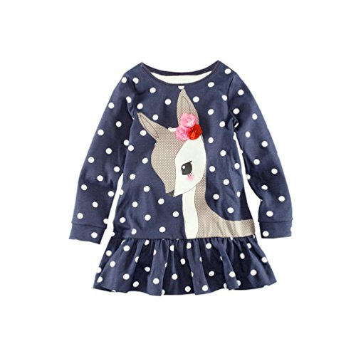 Cute Deer Kids Clothes Child Top Long Sleeve Dress (Size5T)