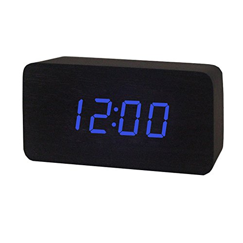 Dopobo Orthogone Horloge ,réveil électronique avec affichage digital bleu en LED écran avec Date et Tempertature avec USB en bois (noir)