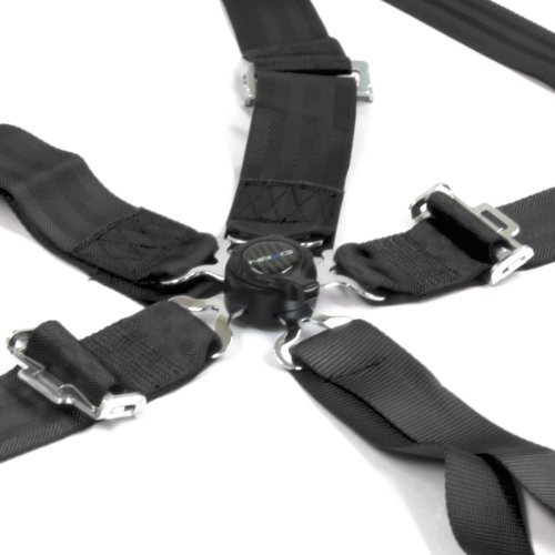 Nrg Sbh-6Pcb 6-Point Cam Lock Style Nylon Racing Seat Belt Harness - Black front-779105