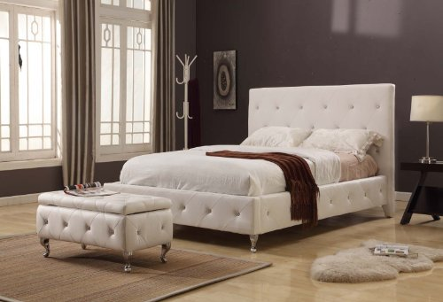White Tufted Design Leather Look King Size Upholstered Platform Bed