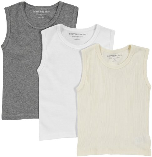 Burt'S Bees Baby Baby Boys' 3-Pk Muscle Tank -Ivory/Heather Grey/Cloud - 12 Months front-920464
