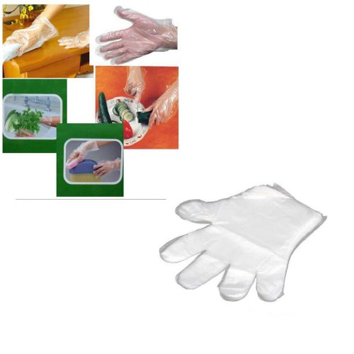 Huayang Clear Disposable Plastic Gloves Pure Sanitary Germproof for Home Service BBQ(Pack of 100 Pcs)