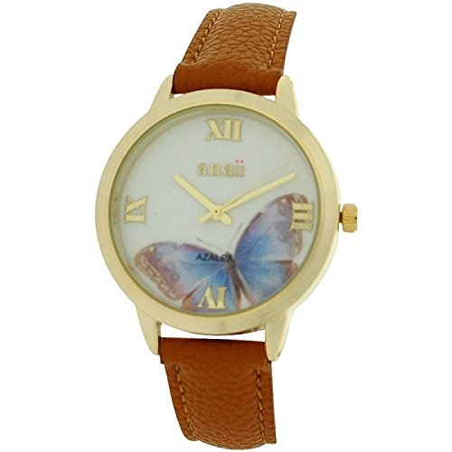 anaii-pink-azalea-ladies-goldtone-butterfly-print-dial-tan-pu-strap-watch-ap792
