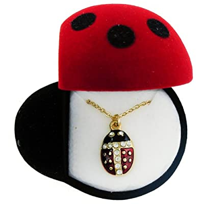 Ladybug Crystal Pendant Necklace In Gift Box: Jewelry