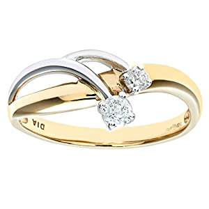 Ariel Women's Diamond Ring, 9 Carat Yellow and White Gold set with Two Stones