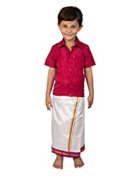 Thangamagan Boy's Shirt/Dhoty Regular Fit(Red Pink,Age : 13 to 14 Years)