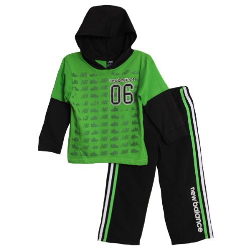 New Balance Little Boys 2 Piece Green Hooded T-Shirt Track Pants Athletic Set front-997672