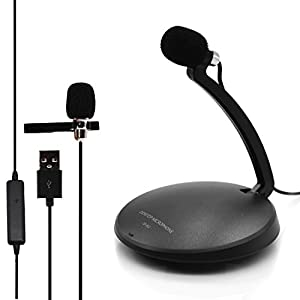 VAlinks® USB Desktop Condenser Microphone Mic with Mount Stand and Tie-Clip for Audio Sound Recording, Online Meeting, Training, Speech, Skype, FaceTime, Microsoft Cortana, LOL, Youtube and More