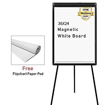 Stand White Board 36 x 24 Magnetic Dry Erase Board w/Flipchart Pad Tripod Easel Board