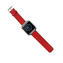 Fitbit Blaze Replacement Band,DAYJOY Elegant Design Genuine Leather Watch Strap Adjustbable Wrist Band for Fitbit Blaze (RED,Small Size)