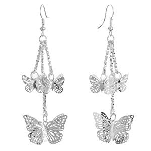 Yazilind Jewelry Christmas On Sale! Butterfly Cute Silver Plated Alloy Dangle Earrings Vintage for Women Gift Idea