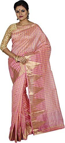 KAAJAL SAREES Women's Banarasi Silk Saree (Baby Pink)