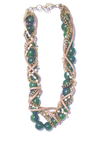 V3 Craft's Twisted Resin Leather And Crystal Chains Necklace For Women - B00FYMT6FE