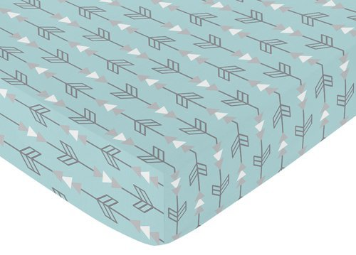 Sweet Jojo Designs Fitted Crib Sheet for Turquoise Blue and Gray Earth and Sky Baby/Toddler Bedding - Arrows Print