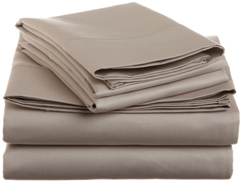 Cotton 1500 Thread Count King Sheet Set Solid, Stone front-801950