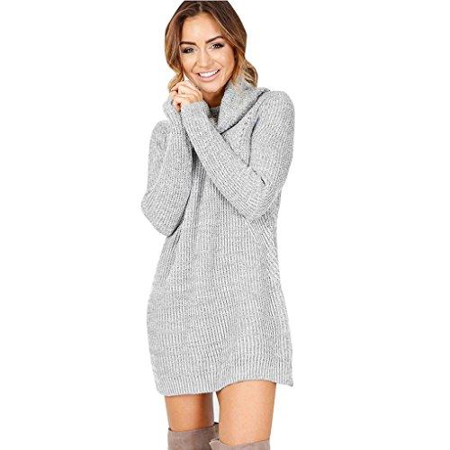 Women Dress,Haoricu Fall Womens Casual Long Sleeve High-collar Solid Jumper Turtleneck Sweater Dress Skirt Coat Blouse (M, Gray)