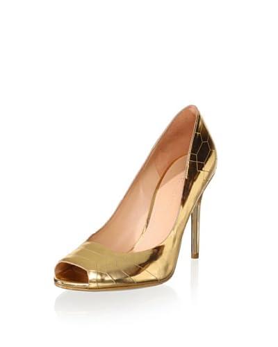 Sigerson Morrison Women's Kitty Peep-Toe Pump  [Gold]