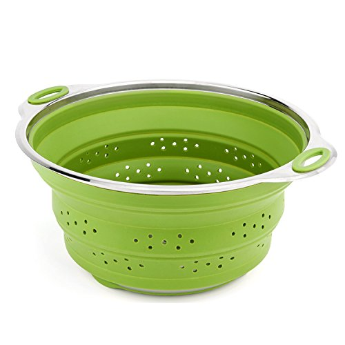 iNeibo Collapsible Colander Best Stainless steel and Silicone Compact Kitchen Food Strainer Steamer (Colander Steamer compare prices)