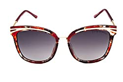 Vintage Elements Polarized Women's Sunglass Red Frame & Grey Shaded Lens