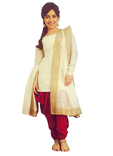 2016's New Arrival Bollywod Replica Mastani Kreation Cream and Red Pure Cotton Patiala Unstitched Dress with Lace Embellished Dupatta