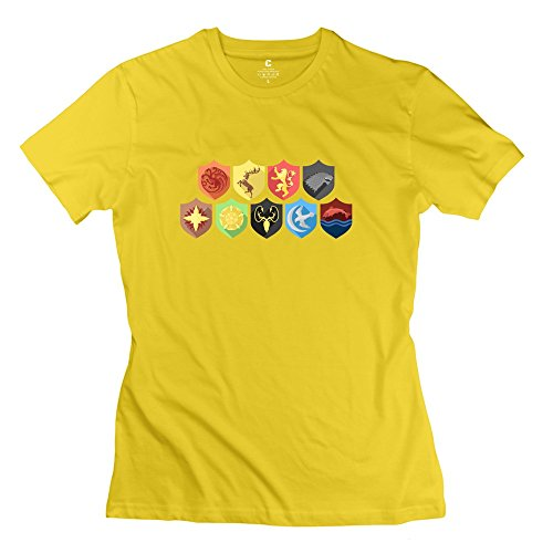 Design Holidays Lady Casual Tshirt/Games Thrones Song Ice Fire Yellow