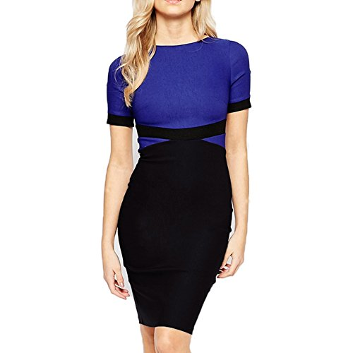 WOOSEA-Womens-Elegant-Colorblock-Wear-to-Work-Cocktail-Party-Pencil-Dress