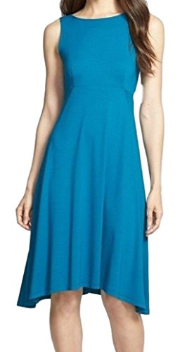 Eileen Fisher Viscose Jersey Sleeveless Bateau Neck Dress Jewel