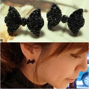 Atm Fashionworld Fashion Cute Black Bowknot Attractive Small Stud Temperament Joker Party Earrings No.3 front-30506