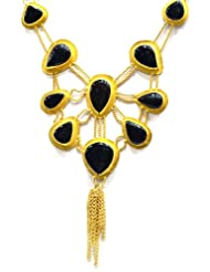 Silver Point Gold And Black Stone Fusion Necklace For Women