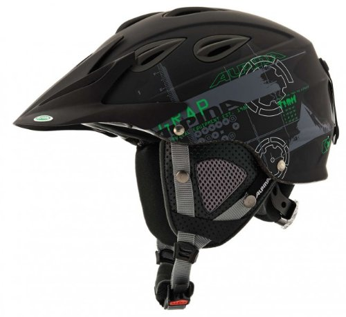 ALPINA Erwachsene Skihelm Grap Cross, Black-Green Matt, 54-57 cm, A9057232
