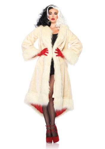 Leg Avenue Costumes Disney Cruella Satin Lined Faux Fur Coat with Tail Shawl Collar
