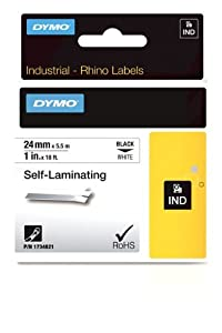 DYMO RhinoPRO Adhesive Self-Laminating Thermal Label Tape, 1-inch, 18-foot Cassette, White (1734821)