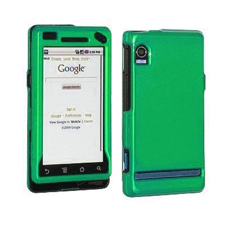 Green Plastic Matte Rubberized Hard for Anti-Slip Grip Snap On Case Cover Case Cover Accessory for Verizon Motorola Droid A855 CDMA Cell Phone