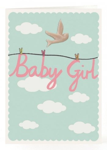 Petra Boase Resin Bird Card - Baby Girl