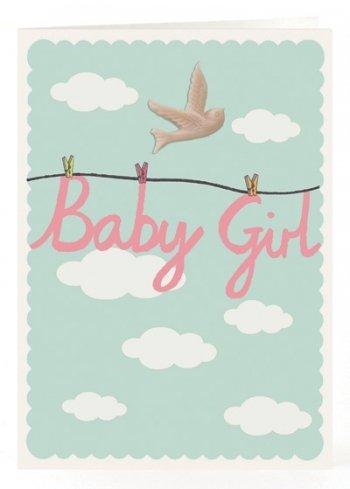 Petra Boase Resin Bird Card - Baby Girl