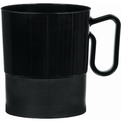 Amscan Reusable Plastic Party Coffee Cup/Drink Ware (20 Piece), 8 oz, Black (Drink Ware Made Of Plastic compare prices)