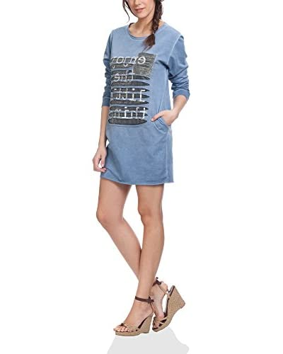 Tantra Kleid Distressed With Pockets And Print Words blau