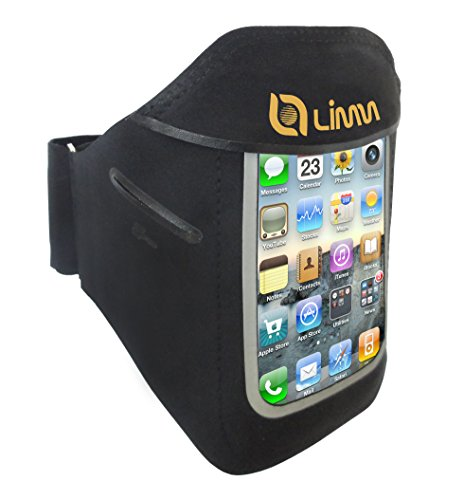 Limm Sports Armband Case For Apple Iphone Samsung Galaxy Smartphones - Key Holder And Screen Protective - Free Downloadable Ebook 100 Exercise Tips - Custom Made, Slim-Fit, Small And Water Resistant For Jogging, Running, Gym, Workout, Fitness Or Sport - C