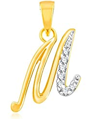 "Kaizer Economica Alphabet Collection Initial Letter ""M"" Gold And Rhodium Plated Pendant With Diamond Sparkle For..."