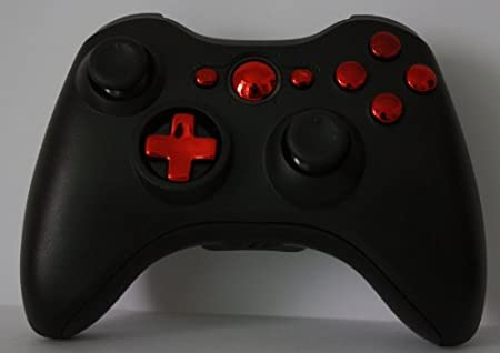 Custom Chrome Red&black Xbox 360 Controller Shell Housing,new Transforming Shells (Red Transforming D-pad)