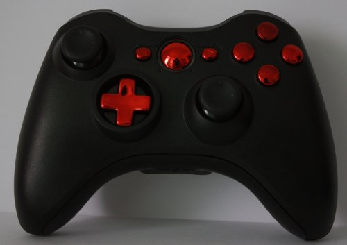 Custom Chrome Red & Black Xbox 360 Controller Shell Housing, New Transforming Shells (Red Transforming D-Pad)