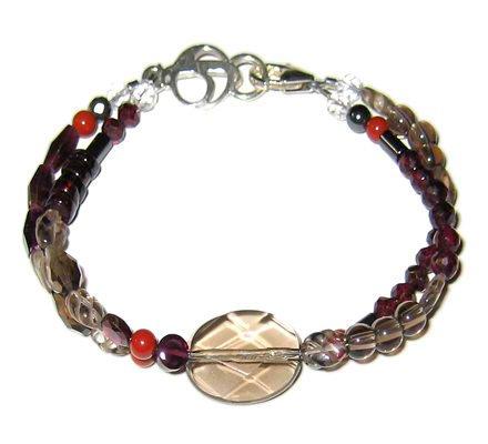 Smokey Quartz Garnet Hematite Bracelet