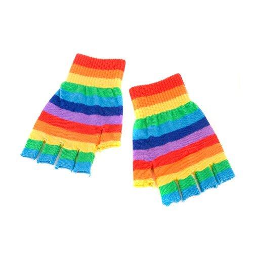 Rainbow Stripe Fingerless Gloves