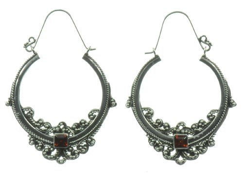 Silver Red Stone Boomarang Earring Jewelry of Bali
