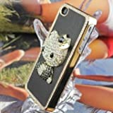 Angelina(TM) iPhone 4 4S Handmade DIY Bling Hello Kitty Luxury Black Color Crystal Diamond Case
