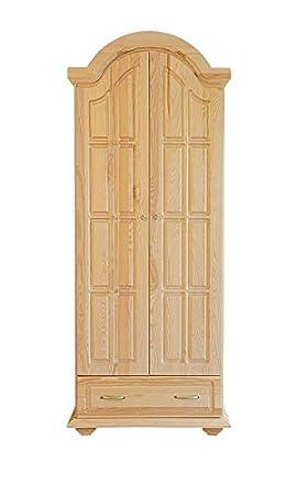 Wardrobe solid, natural pine wood Pipilo 05 - Dimensions 224 x 95 x 60 cm