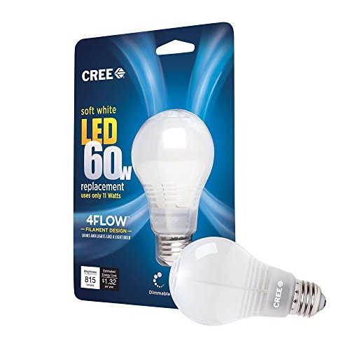 60W Equivalent Soft White (2700K) A19 Dimmable Led Light Bulb With 4-Flow Filament Design