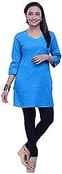 NavRachna Women Blue Straight cut short Cotton Kurta with all over pintucks (NV09_65-BLUE_36)